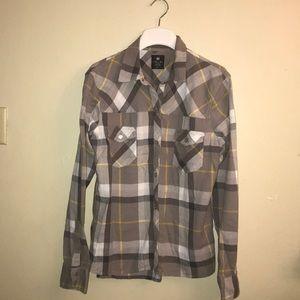 Nollie,plaid gray button down shirt.size XL.